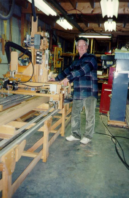 Ray at the post fabrication machine