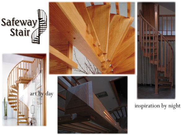 different views of spiral staircases including the cathedral light option